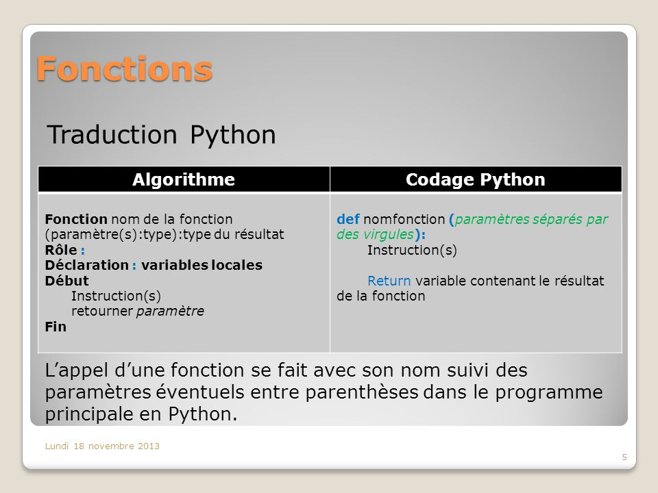 Fonctions Traduction Python