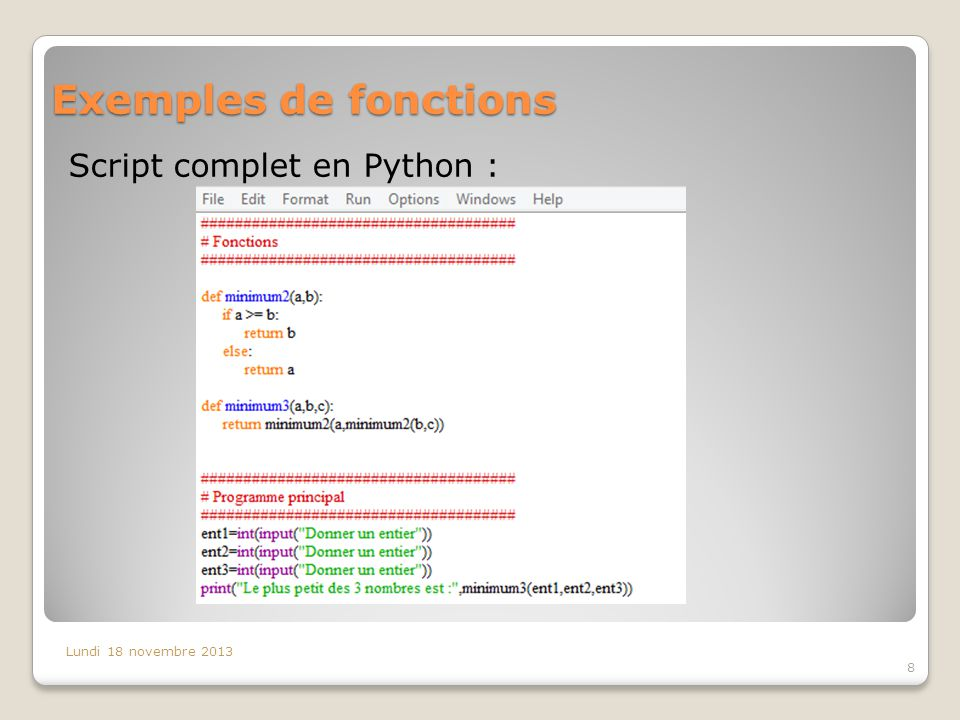 Exemples de fonctions Script complet en Python :