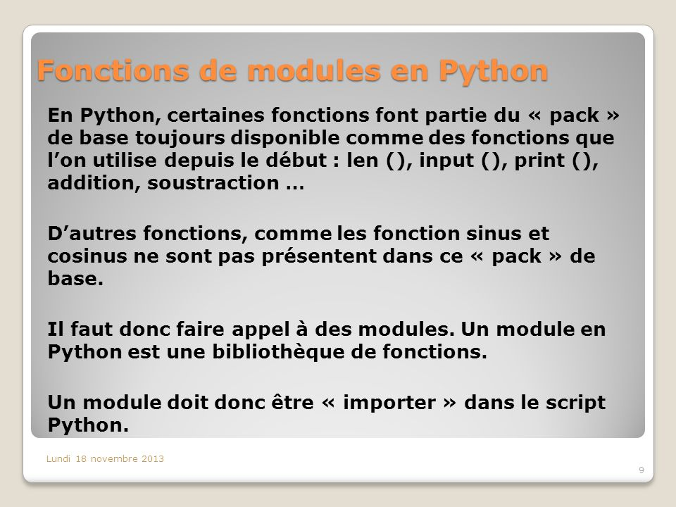 Fonctions de modules en Python