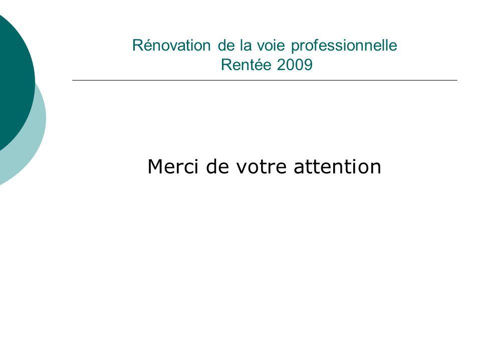 Rénovation de la voie professionnelle Rentée 2009