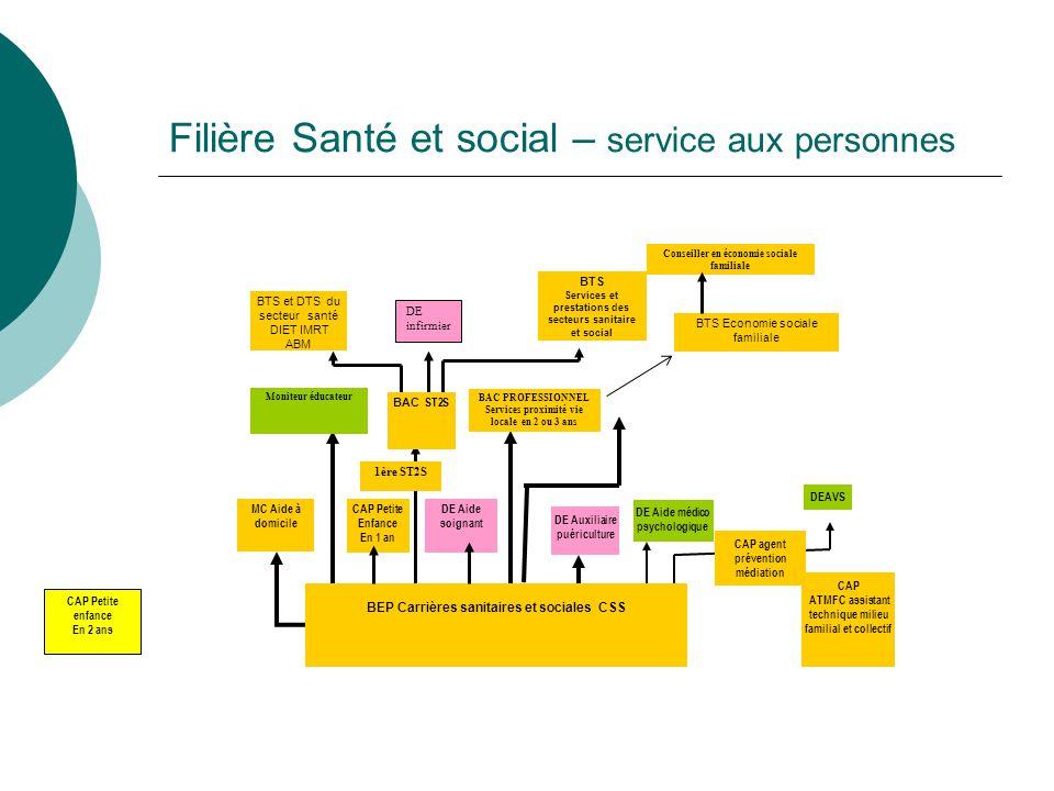 Filière Santé et social – service aux personnes