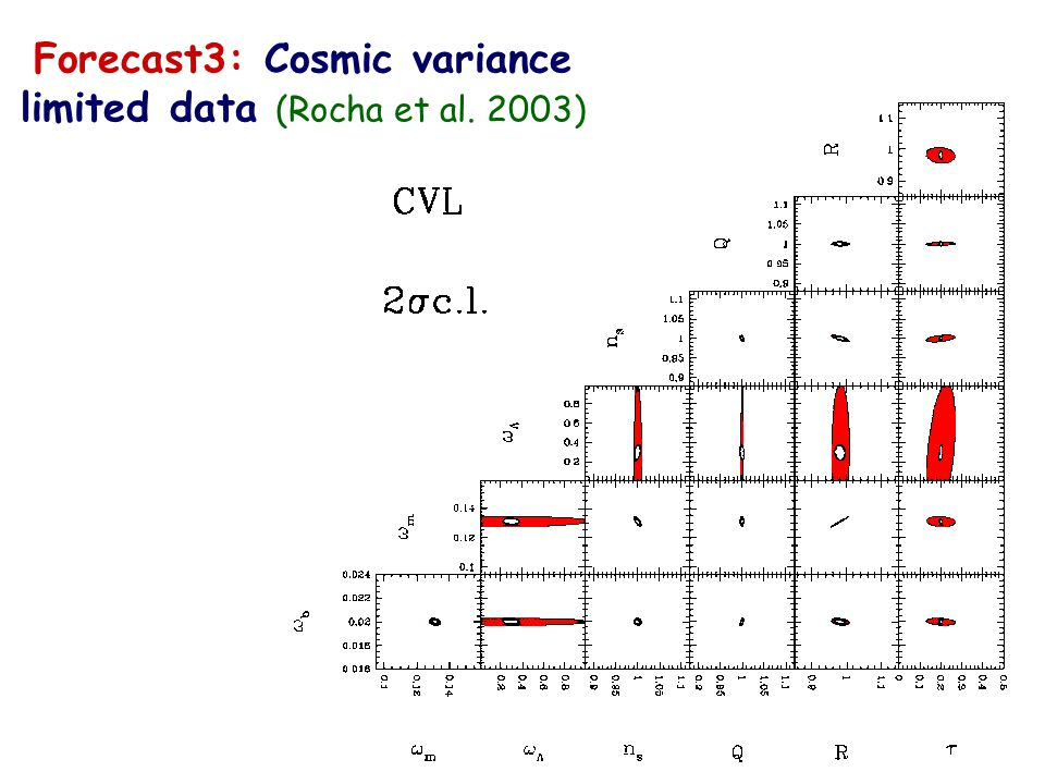 Forecast3: Cosmic variance limited data (Rocha et al. 2003)