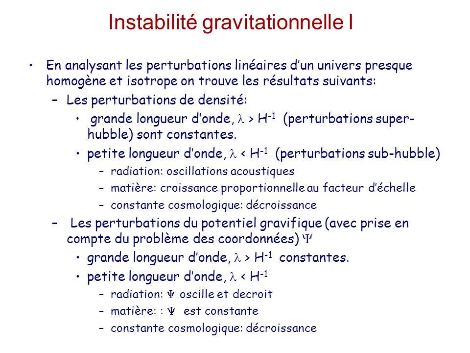 Instabilité gravitationnelle I