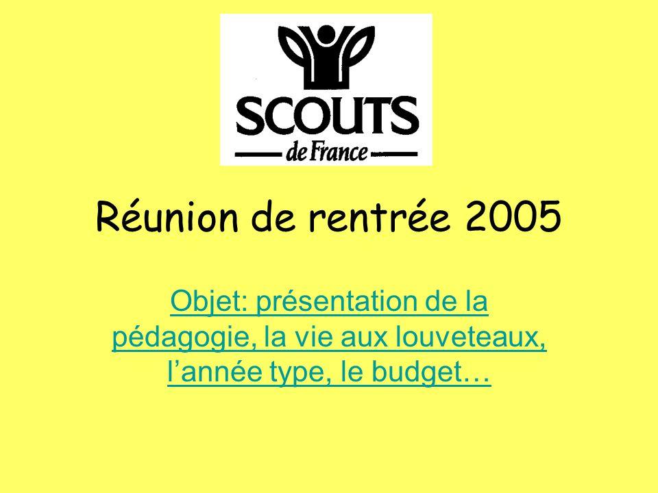 Réunion de rentrée 2005 Objet: présentation de la pédagogie, la vie aux louveteaux, l'année type, le budget…