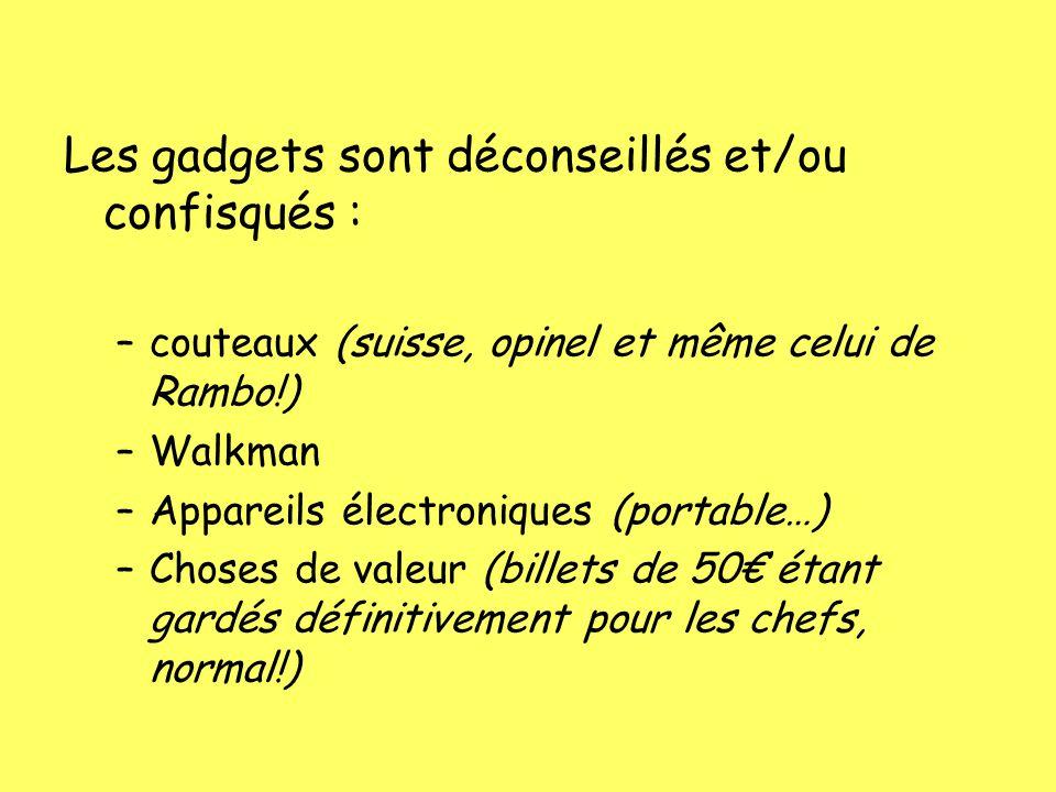 Les gadgets sont déconseillés et/ou confisqués :
