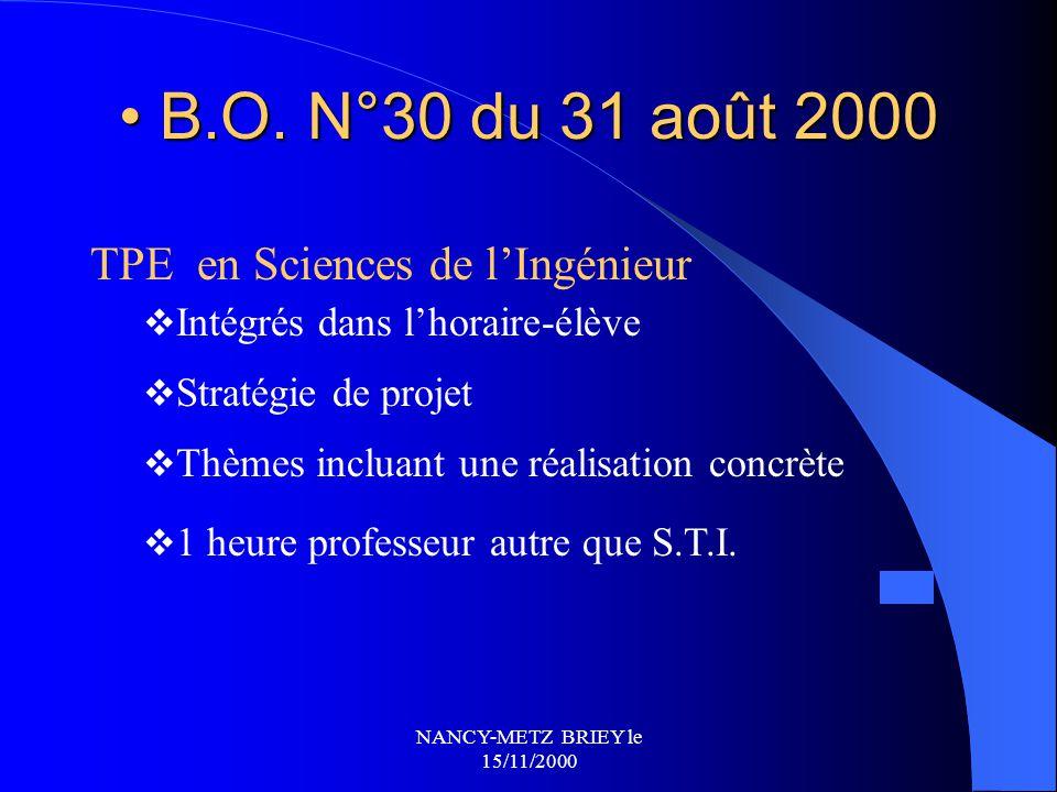 B.O. N°30 du 31 août 2000 TPE en Sciences de l'Ingénieur