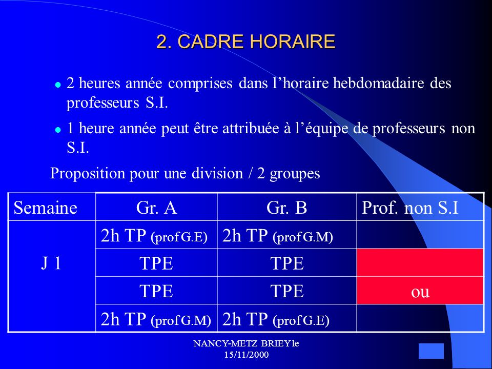 2. CADRE HORAIRE Semaine Gr. A Gr. B Prof. non S.I J 1