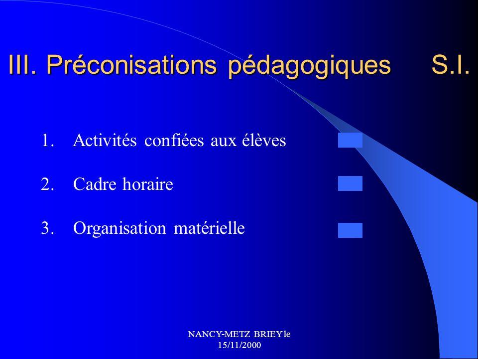 III. Préconisations pédagogiques S.I.