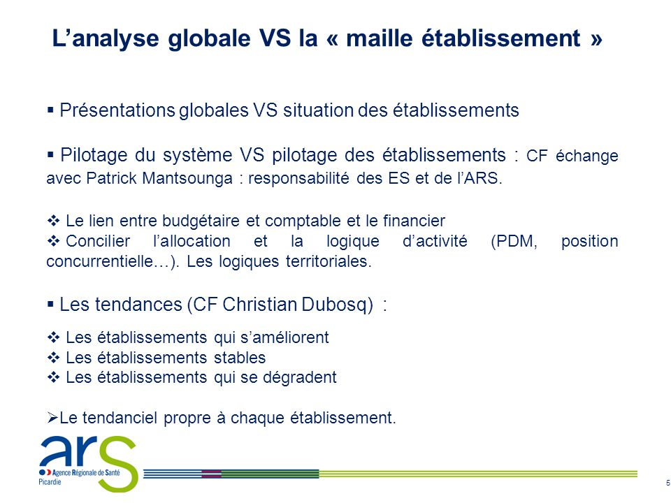 L'analyse globale VS la « maille établissement »