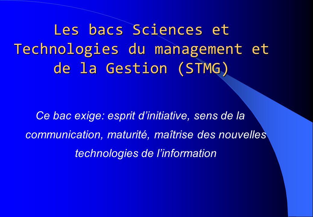Les bacs Sciences et Technologies du management et de la Gestion (STMG)