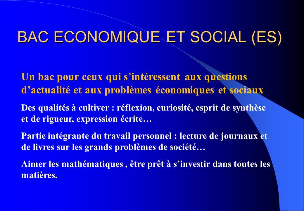 BAC ECONOMIQUE ET SOCIAL (ES)