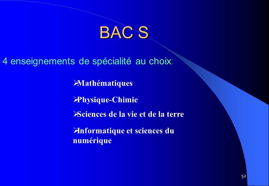 BAC S 4 enseignements de spécialité au choix: Mathématiques