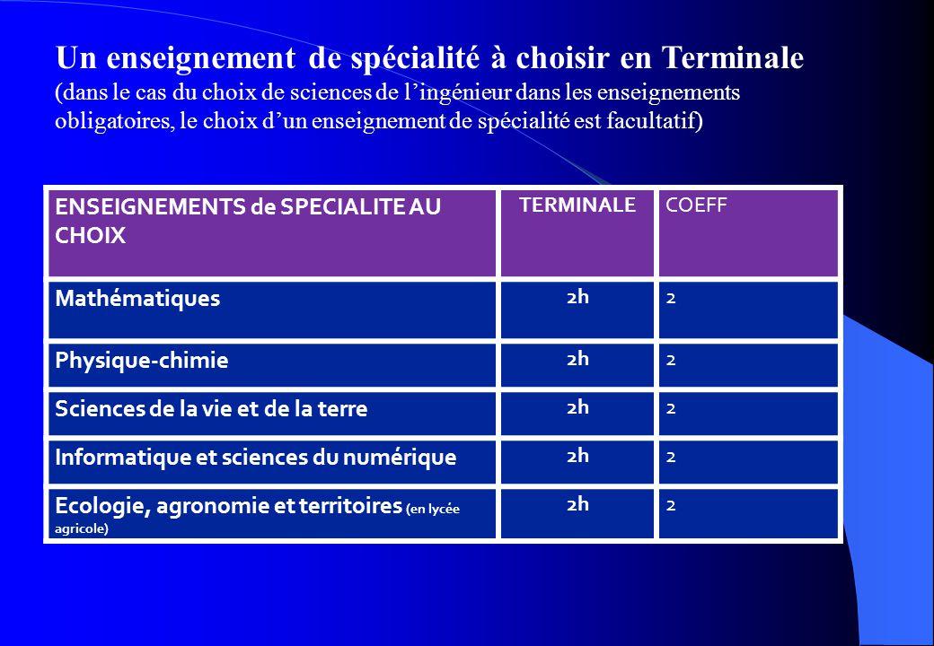 Un enseignement de spécialité à choisir en Terminale