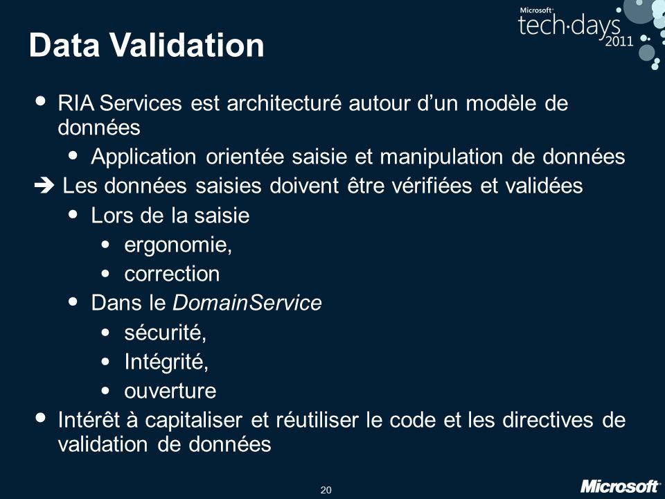 Data Validation RIA Services est architecturé autour d'un modèle de données. Application orientée saisie et manipulation de données.