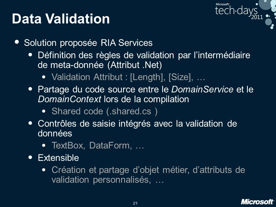 Data Validation Solution proposée RIA Services