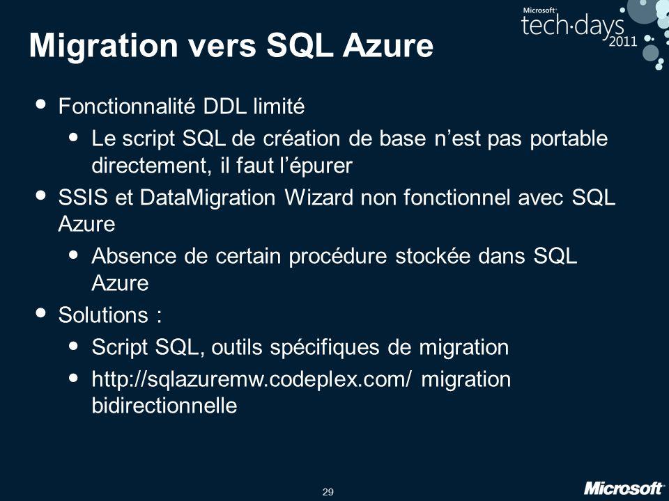 Migration vers SQL Azure