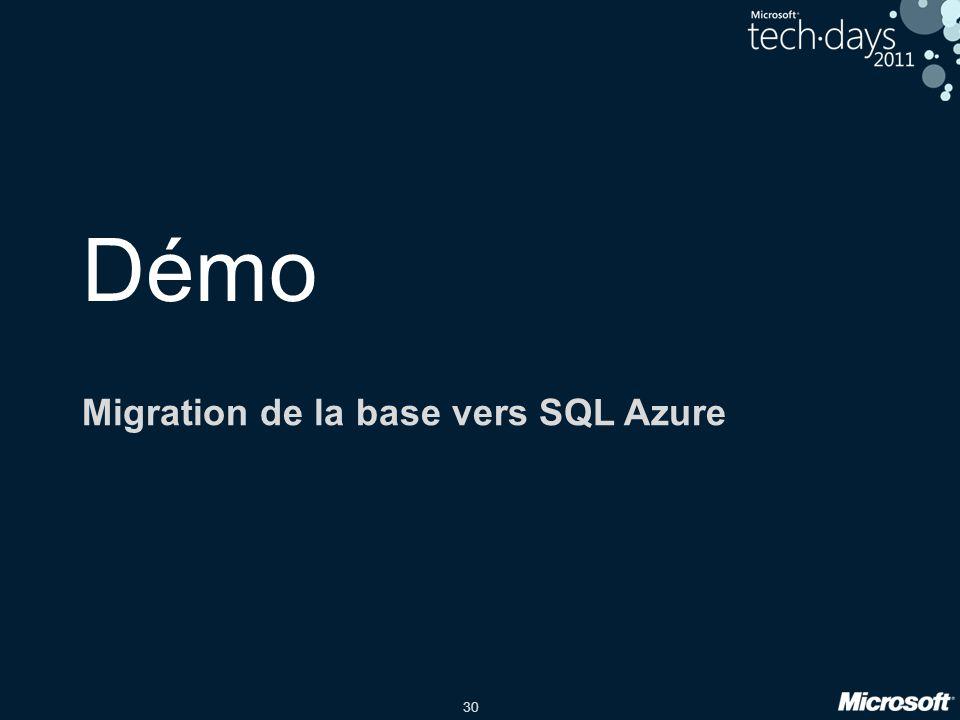Migration de la base vers SQL Azure