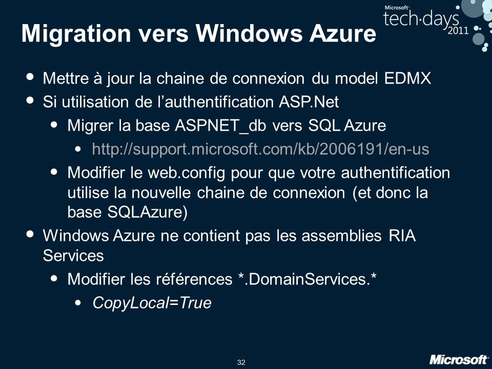 Migration vers Windows Azure
