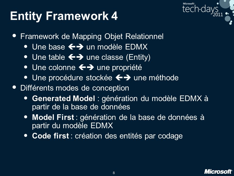 Entity Framework 4 Framework de Mapping Objet Relationnel