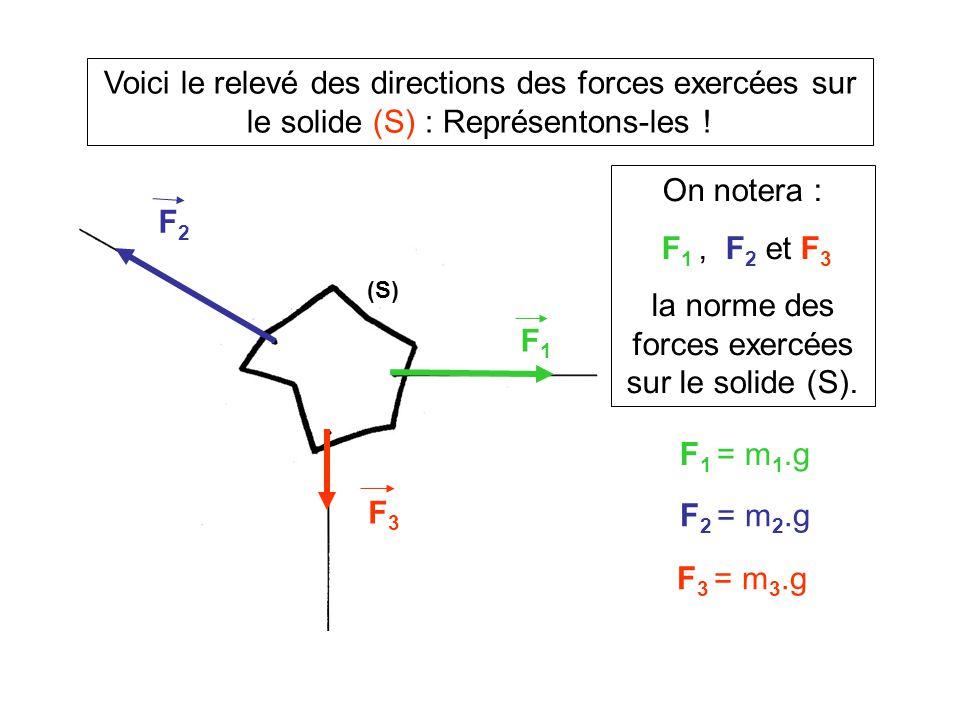 la norme des forces exercées sur le solide (S).