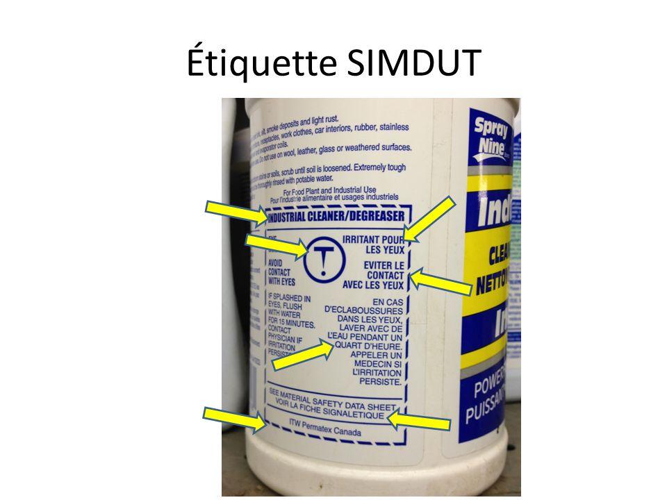 Étiquette SIMDUT Copier les infos du module pour l'info des flèches.
