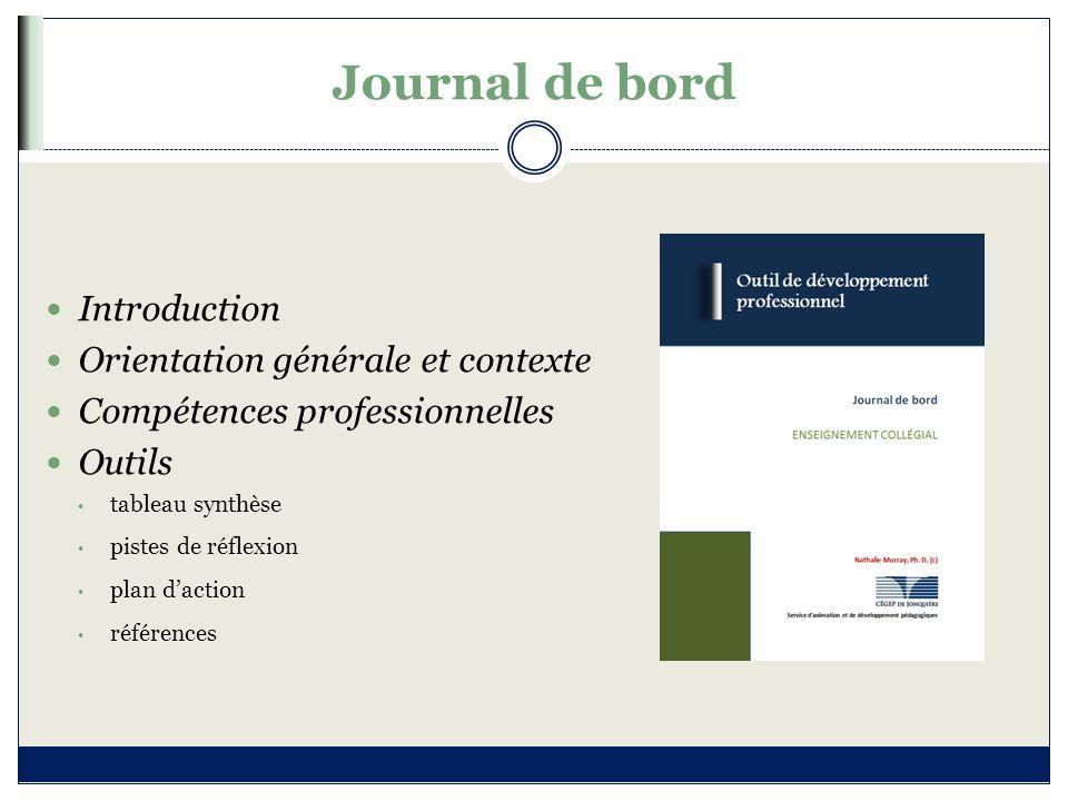 Journal de bord Introduction Orientation générale et contexte
