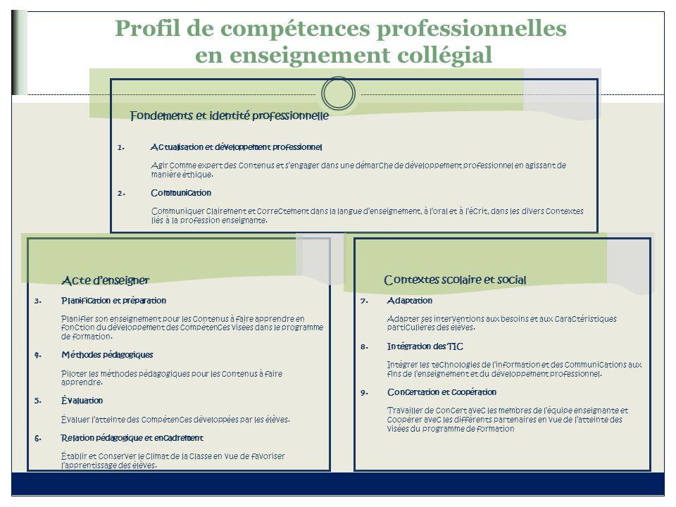 Profil de compétences professionnelles en enseignement collégial