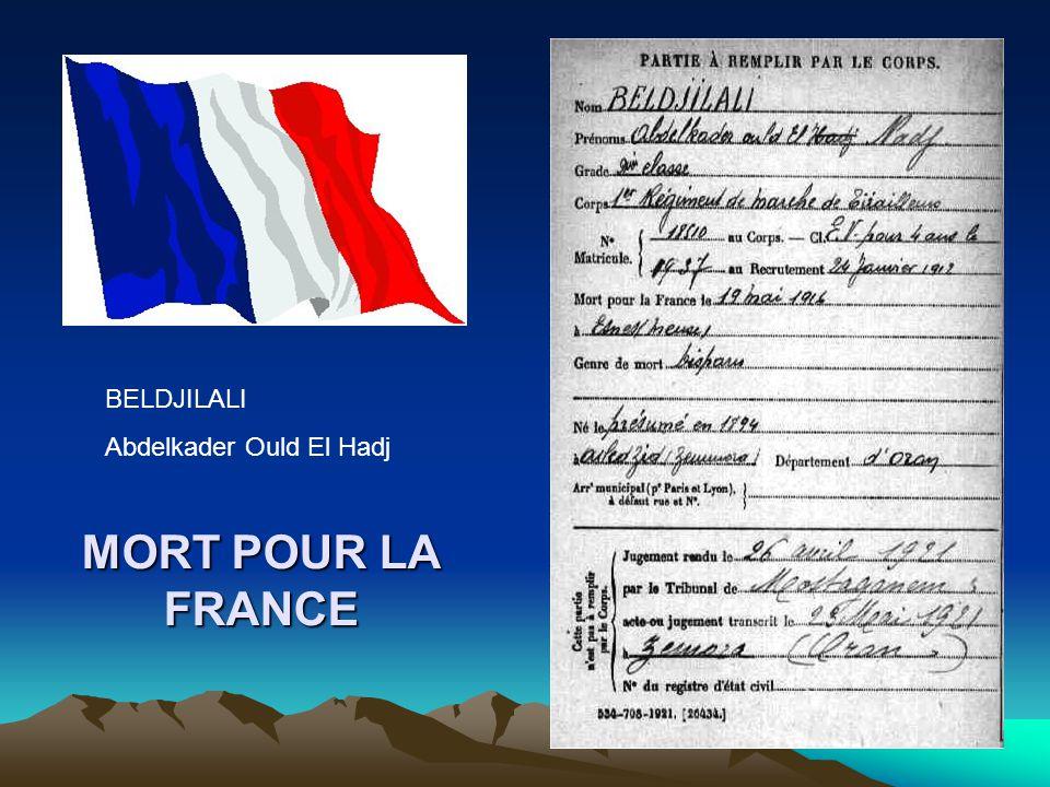 BELDJILALI Abdelkader Ould El Hadj MORT POUR LA FRANCE