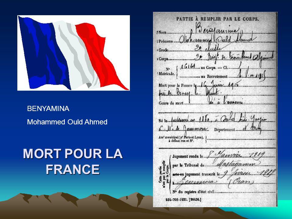BENYAMINA Mohammed Ould Ahmed MORT POUR LA FRANCE