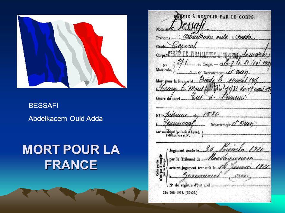 BESSAFI Abdelkacem Ould Adda MORT POUR LA FRANCE