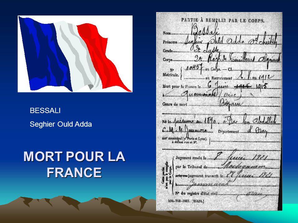 BESSALI Seghier Ould Adda MORT POUR LA FRANCE