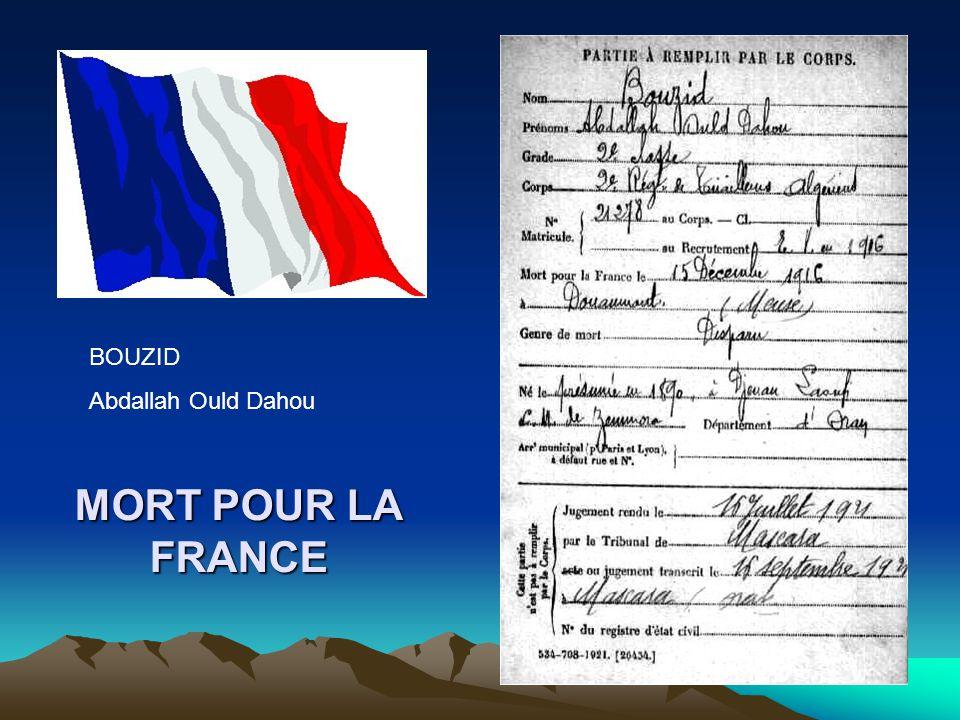 BOUZID Abdallah Ould Dahou MORT POUR LA FRANCE