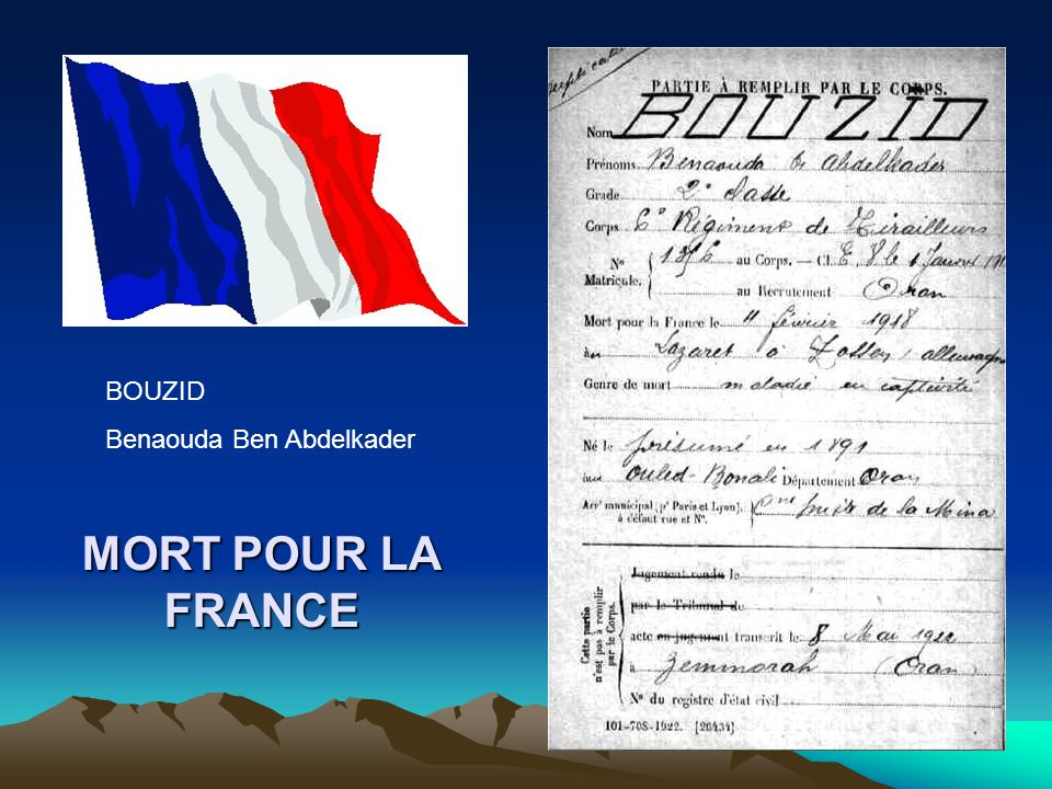 BOUZID Benaouda Ben Abdelkader MORT POUR LA FRANCE