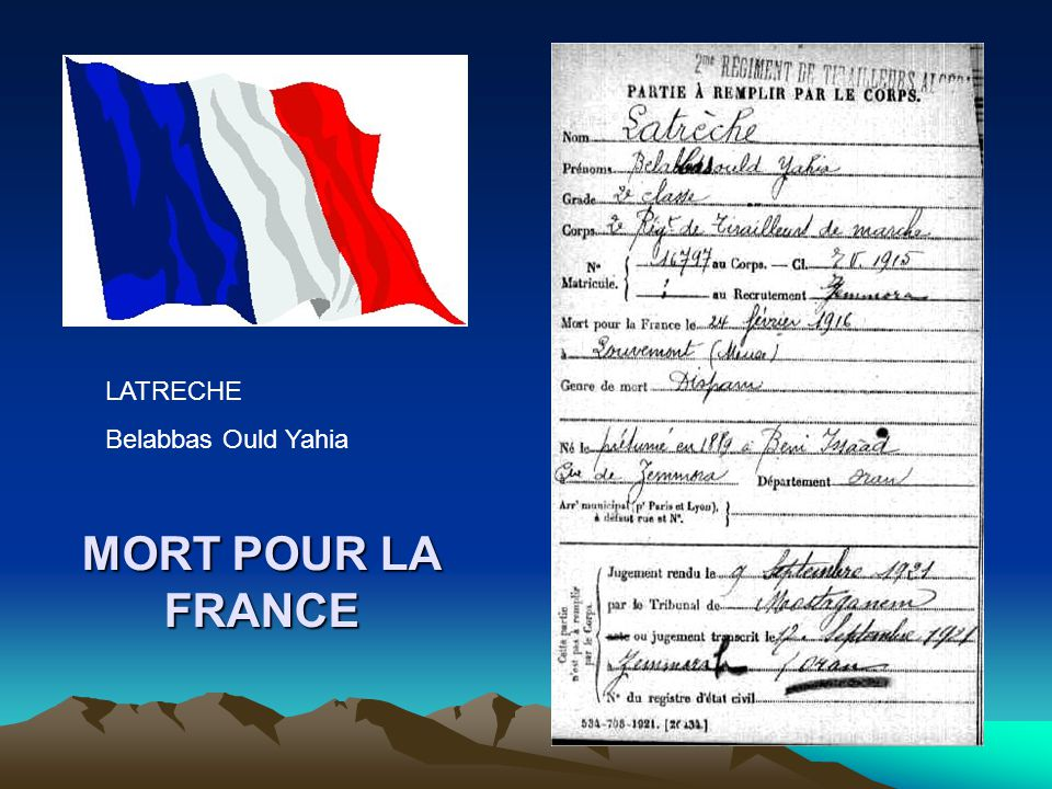 LATRECHE Belabbas Ould Yahia MORT POUR LA FRANCE