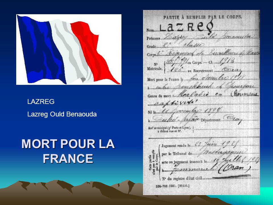 LAZREG Lazreg Ould Benaouda MORT POUR LA FRANCE