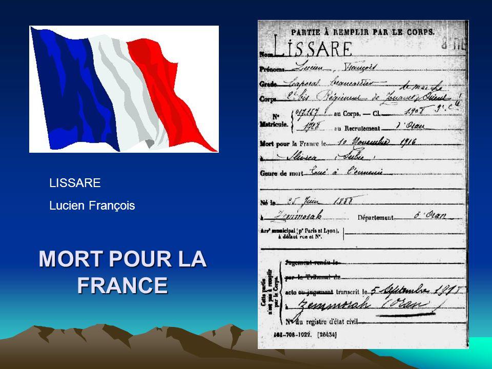 LISSARE Lucien François MORT POUR LA FRANCE