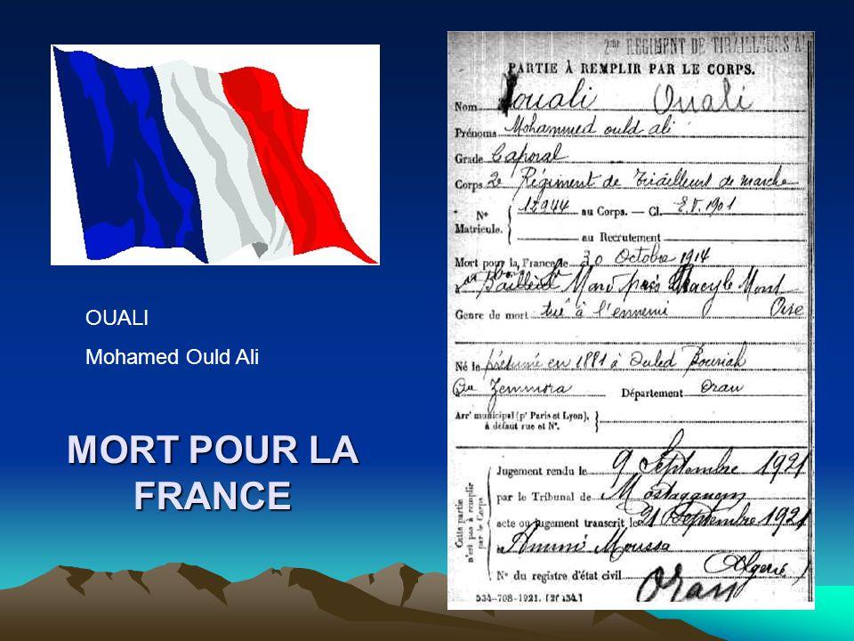 OUALI Mohamed Ould Ali MORT POUR LA FRANCE