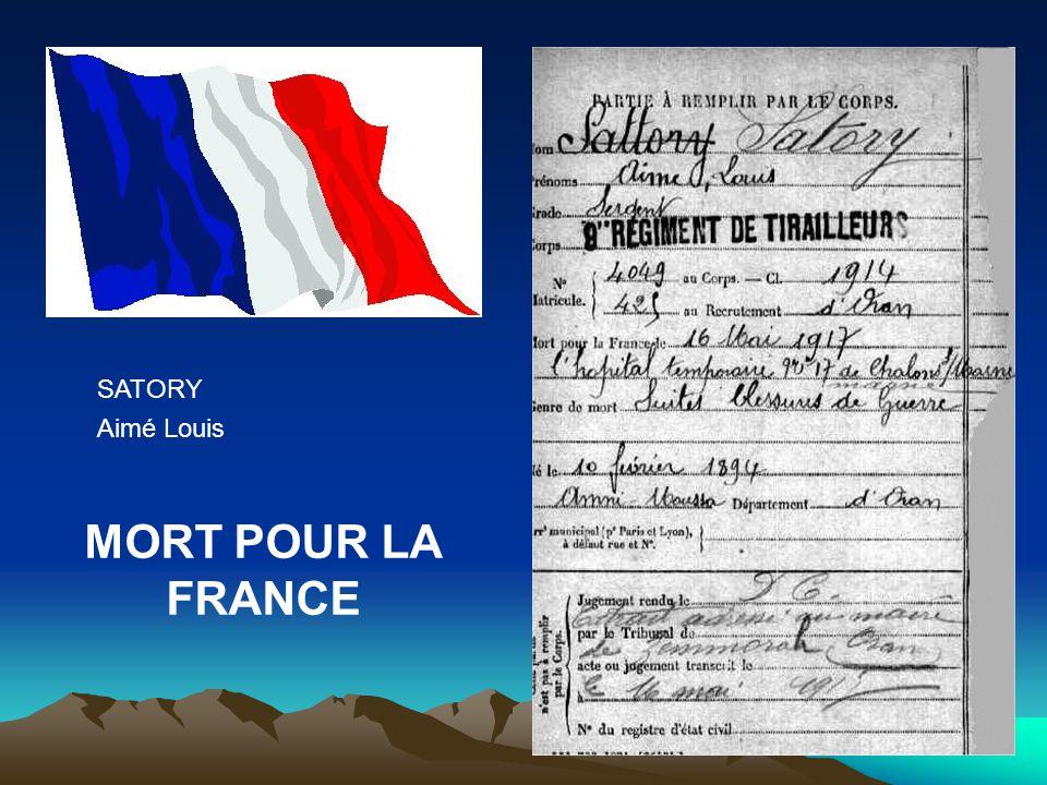 SATORY Aimé Louis MORT POUR LA FRANCE