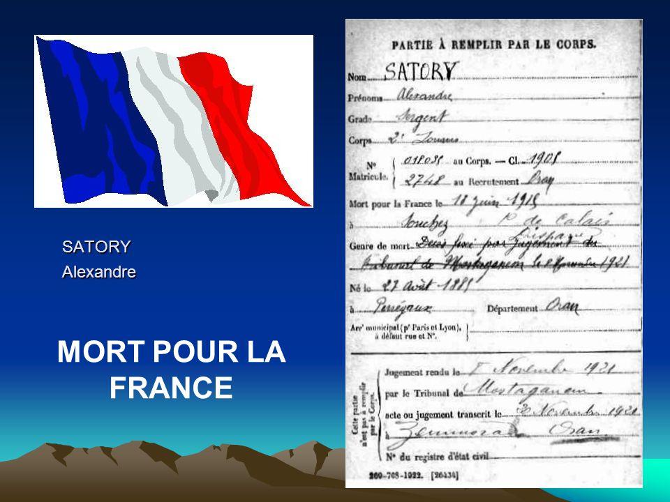 SATORY Alexandre MORT POUR LA FRANCE