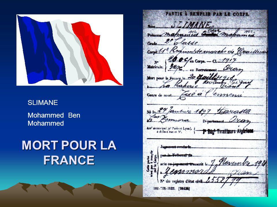 SLIMANE Mohammed Ben Mohammed MORT POUR LA FRANCE