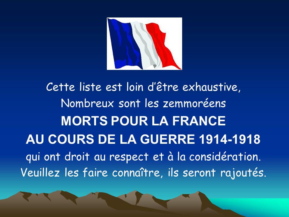 MORTS POUR LA FRANCE AU COURS DE LA GUERRE 1914-1918