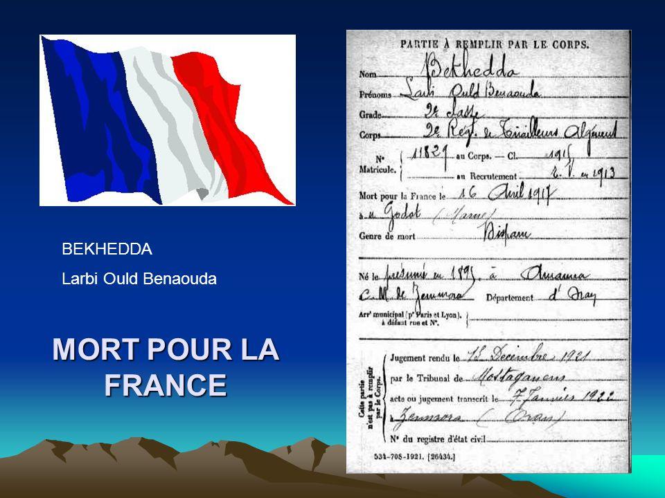 BEKHEDDA Larbi Ould Benaouda MORT POUR LA FRANCE