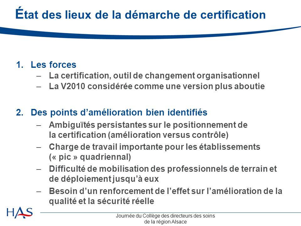 État des lieux de la démarche de certification