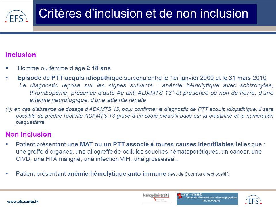 Critères d'inclusion et de non inclusion