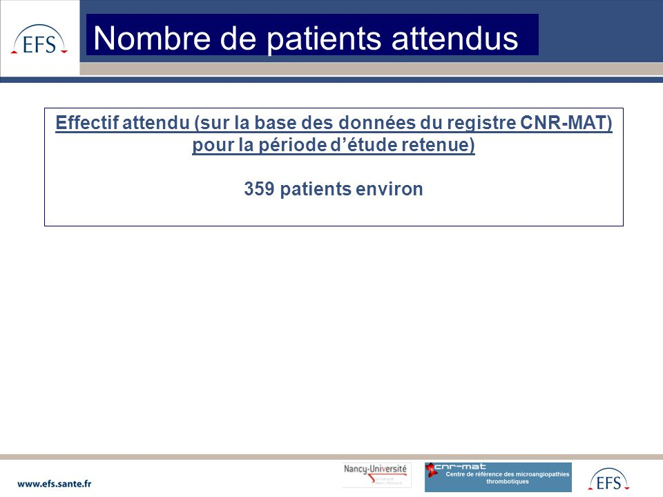 Nombre de patients attendus