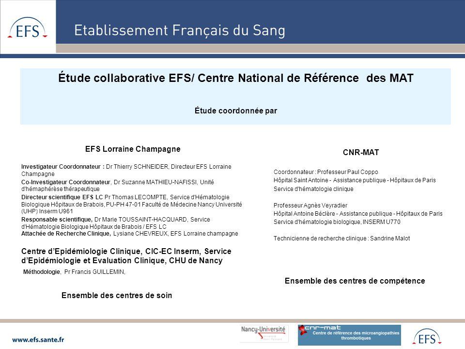 Étude collaborative EFS/ Centre National de Référence des MAT
