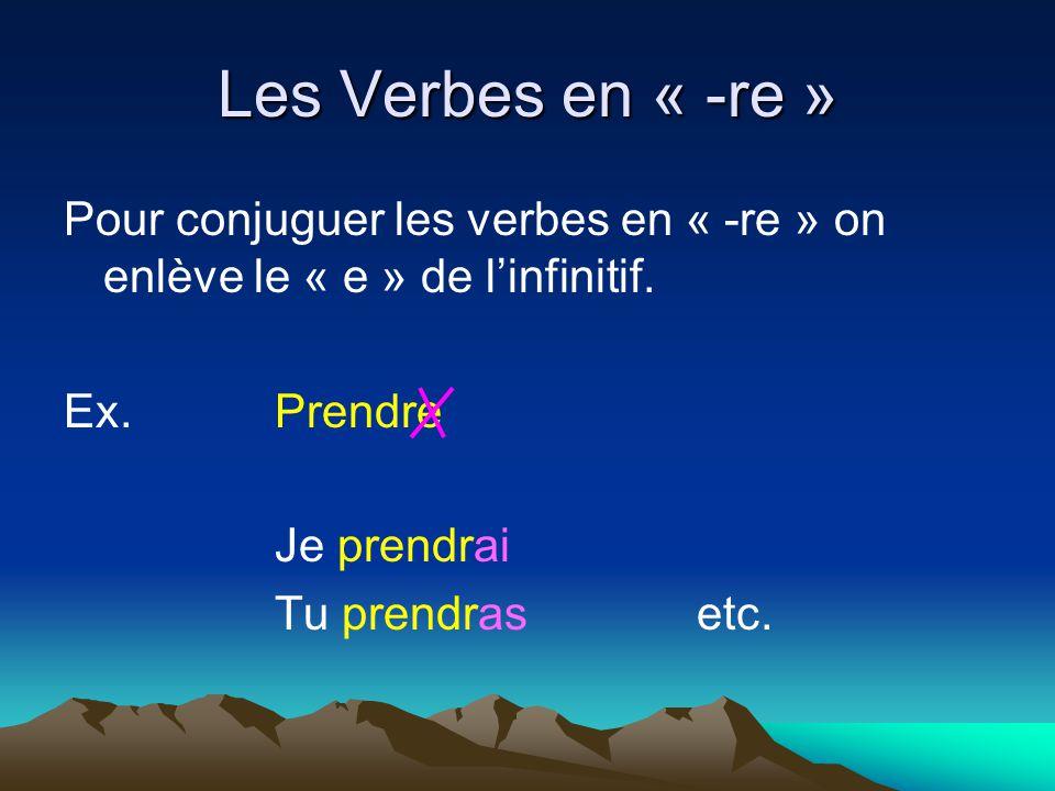 Les Verbes en « -re » Pour conjuguer les verbes en « -re » on enlève le « e » de l'infinitif. Ex. Prendre.