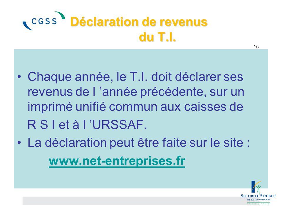 Déclaration de revenus du T.I. 15
