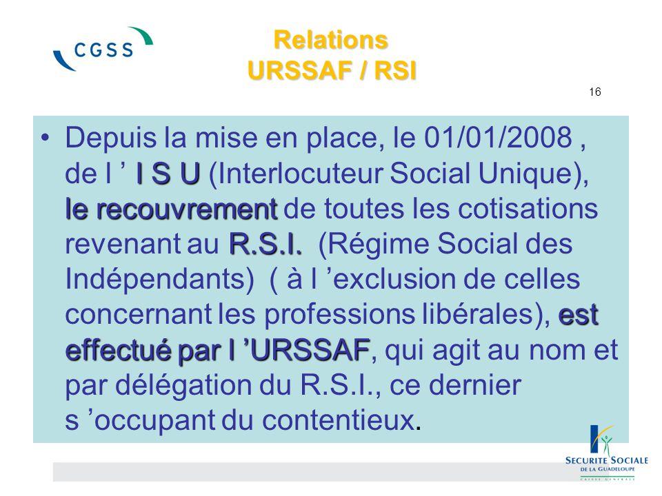 Relations URSSAF / RSI 16