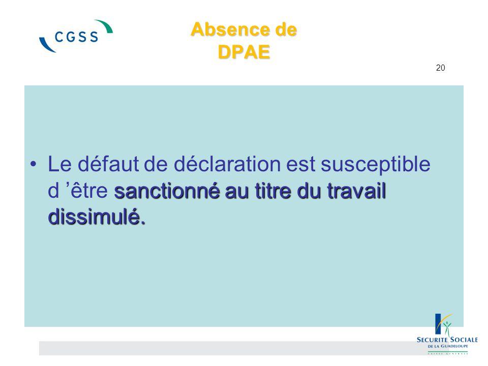 Absence de DPAE 20